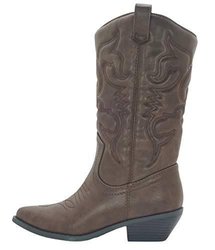 SODA Women Cowgirl Cowboy Western Stitched Boots Pointy Toe Knee High Reno (5.5, Tan)