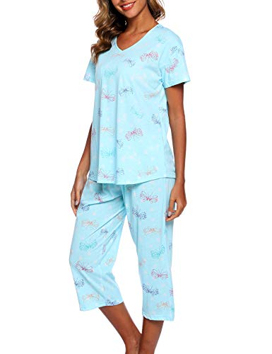 ENJOYNIGHT Women's Sleepwear Tops with Capri Pants Pajama Sets (Large, Flyyying)