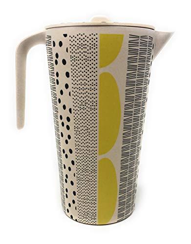 Space Home - Wasserkrug mit Deckel - Kanne mit Deckel aus Bambus - Wasser Krugg - Getränkekrug - Bambus Krug für Milch, Rotwein, kaltes Wasser, Fruchtsaft.... - Umweltfreundlichem - 1,2 L - Gelb