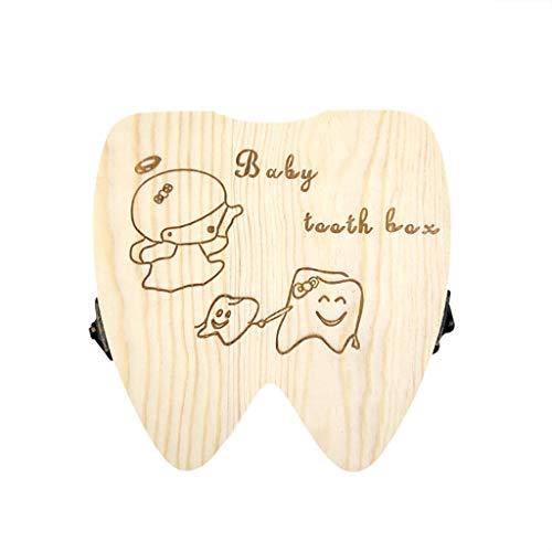 Doitsa 1x Bo/îte /à Dents de Lait Enfant Version English Conservation en Bois Souvenir pour B/éb/é Fille Enfant