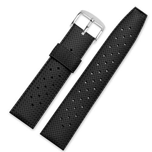 WNFYES 20mm 22 mm Banda de Reloj de Goma Deporte Strap de Silicona Transpirable Pulsera de Reloj Correa de Silicona (Band Color : Black, Size : 20mm)