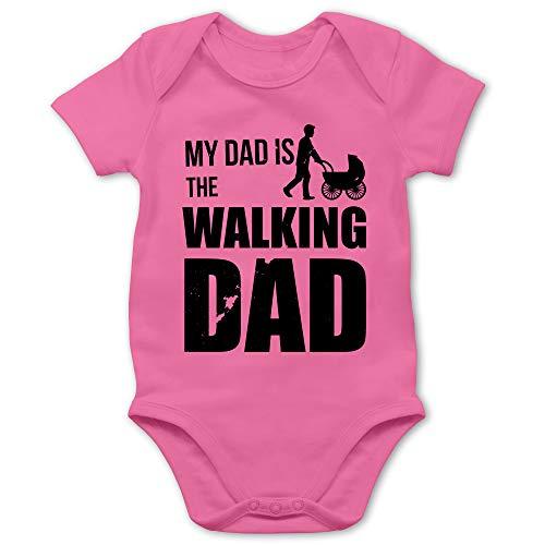 Shirtracer Sprüche Baby - My Dad is The Walking Dad - 6/12 Monate - Pink - Body lustig - BZ10 - Baby Body Kurzarm für Jungen und Mädchen