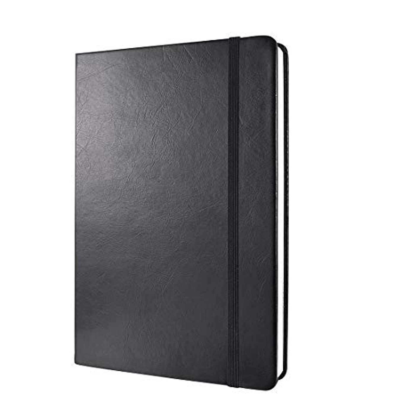 (Black) - Dotted Grid Bullet Notebook Journal Dot Hard Cover A5 Premium 100gsm Thick Acid-free Paper with Fine Inner Pocket, Black Smooth Faux Leather, Christmas Gift-240 Pages