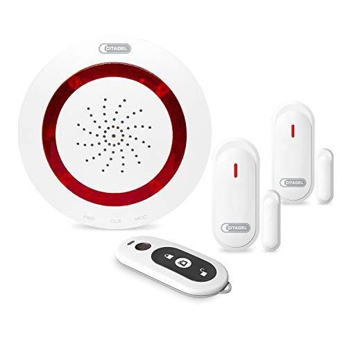 ABUS Alarm-Basis-Set Micral by CITADEL - 1x Alarm-Zentrale, 2x Öffnungsmelder, 1x Fernbedienung - bis zu 16 Komponenten integrierbar - Fensteralarm - Türalarm