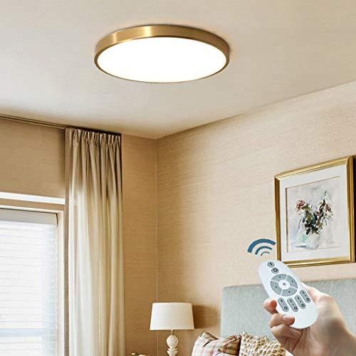 LED Deckenleuchte Ultra-Dünne Lampe Runde Dimmbar Deckenlampe Messing Gold Schlafzimmer Decke Licht Moderne Lampe Küchenleuchte Kreativ Wohnraumleuchte Dreifarbenraumlicht,40cmDimming