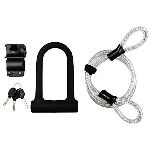 Cuasting - Cavo di sicurezza a U per bici con cavo flessibile da 1,2 m, per bici da strada, mountain bike, bici elettrica, bici pieghevole