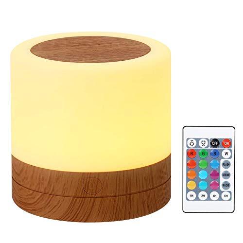 Taipow Luz Nocturna de LED, Mini Lámpara de Mesita de Noche, Control Remoto, Control Tactil, Temporizador, Regulable, USB Recargable, Cambio de Colores, para Niños Habitación