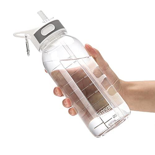 VENNERLI Sports Water Bottle with Straw 1Litre Durable Leakproof BPA Free Tritan Gym Flip Sipper Bottle Dustproof with Marking Dustproof Leakproof (1L Clear)