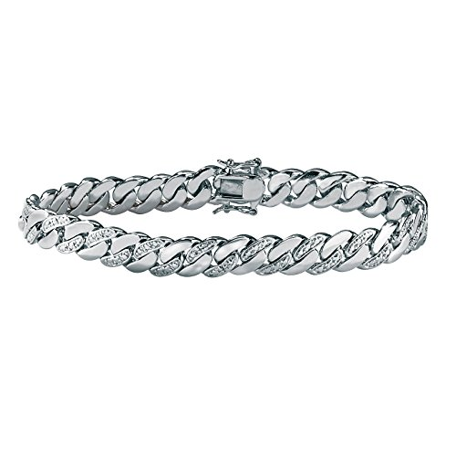 Palm Beach Jewelry Men's Platinum Plated Genuine Diamond Accent Curb Link Bracelet (9mm), Box Clasp, 8.5 inches