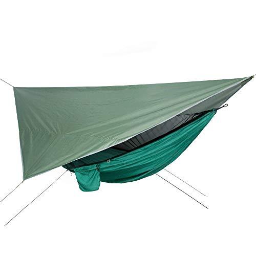 BASA Hamaca con mosquitera, con Juego de Dosel, tamaño 290 * 140 cm, Adecuado para Exteriores, jardín y terraza (Verde)