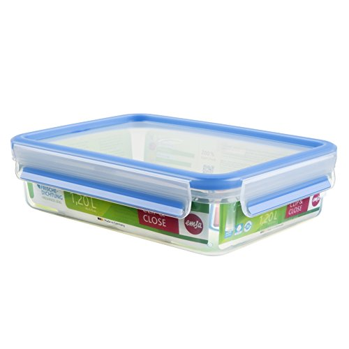 Emsa 508542 Rechteckige Frischhaltedose mit Deckel, 1.2 Liter, Transparent/Blau, Clip & Close