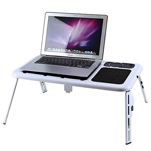 Mesa de Ordenador portátil Ajustable, Mesa Plegable para Ordenador portátil, Mesa de refrigeración con Doble Ventilador para Lectura y Estudio