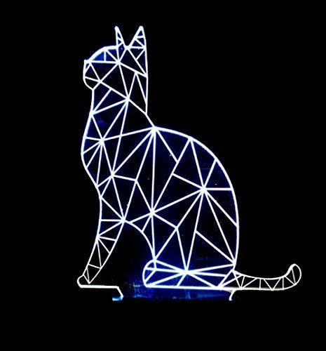 3D Led Luz de Noche Forma de Gato Lámpara 3D Led Luz de Noche 7 Cambio de Color Toque de Estado de ánimo de la Lámpara de Regalo de Navidad