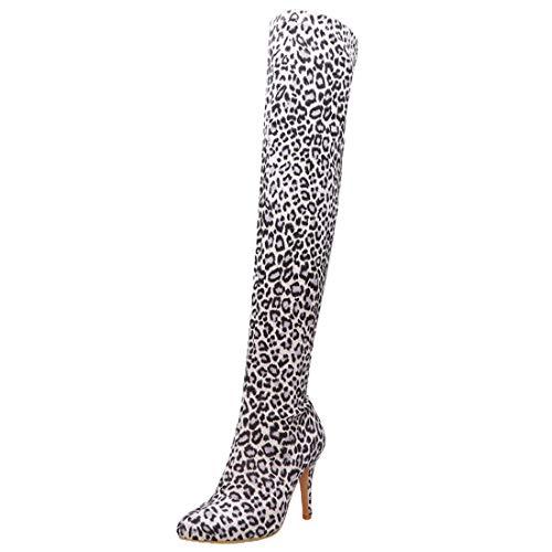 Overknee Stiefel High Heels Leoparden Boots mit 10cm Absatz Stiletto Hohe Stretch Stiefel Ohne Verschluss (Weiß,38)