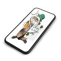 ハッピー聖パトリックの日は猫を祝いますiPhone XS ケース/iPhone X ケース 5.8インチ 強化ガラス 耐衝撃 ガラスTPU バンパー薄型 携帯カバー 全面保護 リング付き 衝撃防止 スタンド機能 高級感 おしやれ 人気 かわいい