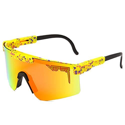 HUALUWANG Crótalo Gafas de Sol, Gafas Deportivas Polarizadas para Hombre y Mujer, Gafas de Exterior a Prueba de Viento, Protección UV (Color : B)
