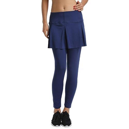 eaadb1b435eaf Gooket Women's Sports Skirted Leggings Yoga Skirts with Spandex Tights  Athletic Tennis Gym Active Running Skort