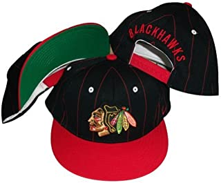 Chicago Blackhawks Two Tone Black/Red Pinstripe Snapback Adjustable Plastic Snap Back Hat/Cap