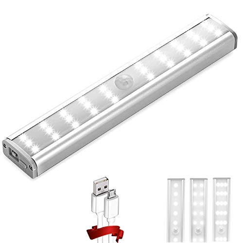 Homelife Motion Sensor LED Closet Lights, 30-LED Bars Under Cabinet Lighting, Wireless Rechargeable Led Strip Lights, Stick On Lights Magnetic Safe Light Indoor for Closet, Kitchen, Stairway
