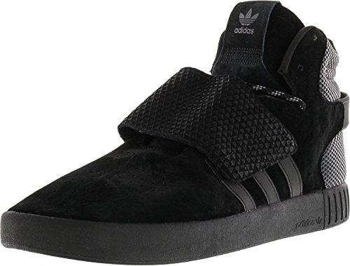 adidas Men's Tubular Invader Strap Core Black/Footwear White High-Top Leather Basketball Shoe - 9.5M