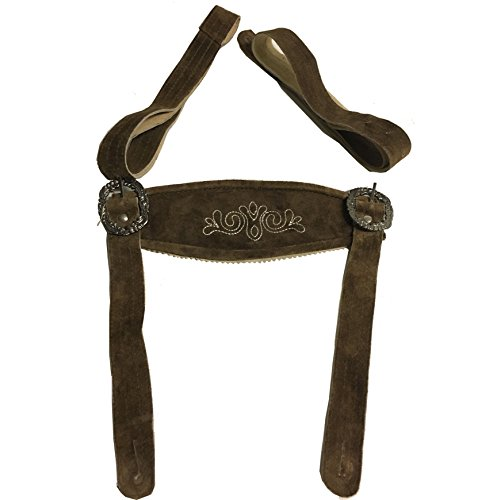 FROHSINN Trachtenhosenträger (Trägerlänge 97 cm, Farbe Mittelbraun/Camel) Bestickte Hosenträger für Trachten Lederhose Kniebund oder kurz