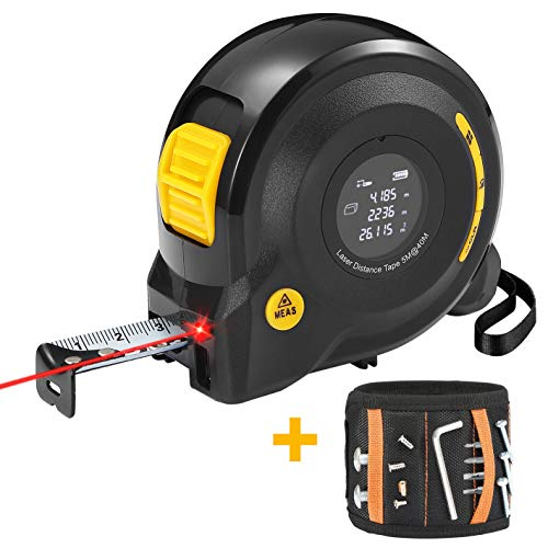Laser Tape Measure 2-in-1 Laser Measure 131Ft/40M Tape Measure 16Ft/5M with Magnetic Wristband for Holding Screws USB Rechargeable Distance Meter with LCD Digital Display for Measuring Area