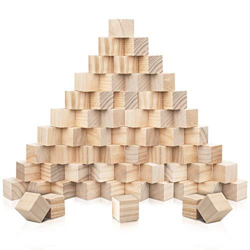 Kurtzy Bloques de Madera Cuadrados Pequeños (Pack de 60) - 2 x 2 x 2 cm Cubo Madera Pino Natural sin Acabado - Bloque Madera Educativo Manualidades para Bricolaje, Rompecabezas, Números