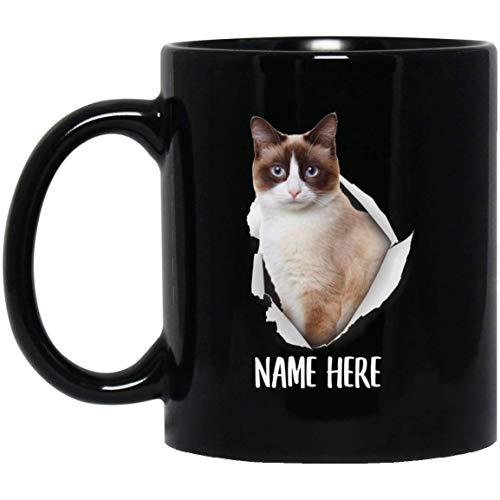 N\A Taza de café Negra Personalizada Divertida del Nombre de Encargo del Oro Claro del Gato de la Raqueta de Nieve