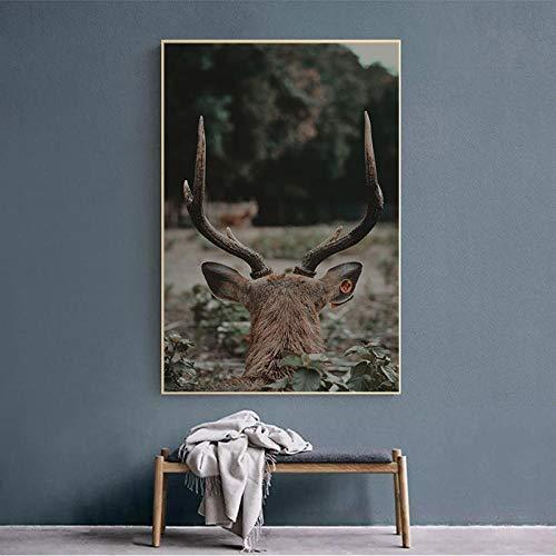 wekeke Cuadros en Lienzo Animal Ciervo en el Bosque Postlandscape Pintura en Lienzo Carteles e Impresiones para la decoración de la Sala de Estar Pared Decoración del hogar-60X80Cm Sin Marco
