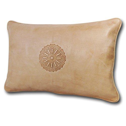 ALMADIH Cuscino Bianco XL 35x50 cm in diversi colori - 100 % tradizionale mano in vera pelle - Arredo per Divani Pouf sacco imbottito cuscini decorativi ornamenti in cuoio