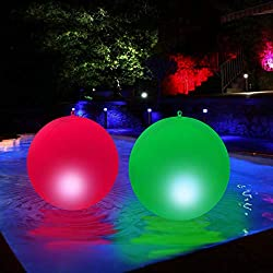 Floating Pool Lights Solar-15 Inches-Solar Powered- Pool Lights to Turn your pool Into a Wonderland - Beautiful Bright Colors, Easily Inflated, Color-Cycle - Waterproof-Led Pool Lights (Pack of 2)