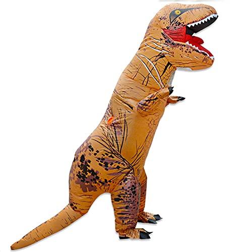 F.A.N.G.YUN 7.2 Pies Decoración de Dinosaurios Inflables de Halloween, Disfraz Inflable de T-Rex para Adulto de Jurassic World Ropa de Cosplay de Escenario para Pascua, Navidad con Soplador