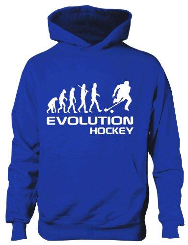 Hockey Kapuzenpullover Evolution of ~ Kinder Jungen Mädchen Kapuzenpullover ~ in 6 Farben ~ Alter 5-15 Gr. 12 Jahre, blau