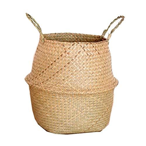LINKIOM Seagrass Wickerwork Basket Rattan Hanging Flower Pot Dirty Laundry Hamper Storage Basket - Bathroom Storage- Bathroom Storage-L