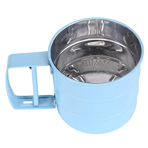 KINDPMA Flour Sifter for Baking Handheld Flour Sieve with 24 Fine Mesh Stainless Steel Flour Shaker Handheld Sieve Cup 4''x 3.66'' for Flour Sugar and Coffee Powder Blue
