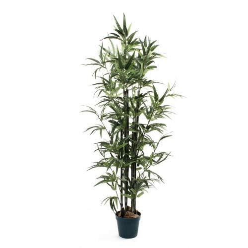 De Vielle Artificial Bamboo Tree Realistic Home Plant Decoration, Metal, Green, 4 ft