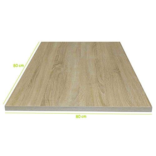 Tischplatte aus Holz für Schreibtische - Holzplatte perfekt geeignet für Schreibtisch, Couchtisch/Esstisch - Verschiedene Größen & Farben (80x80cm, Sonoma Eiche)