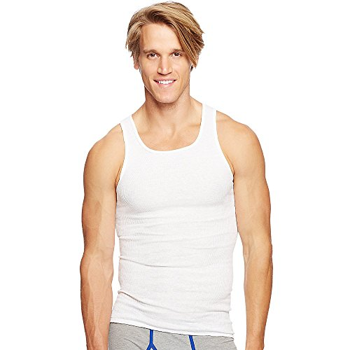 Hanes Ultimate Men's Big and Tall 3-Pack Tagless Tank, White, 4X-Large