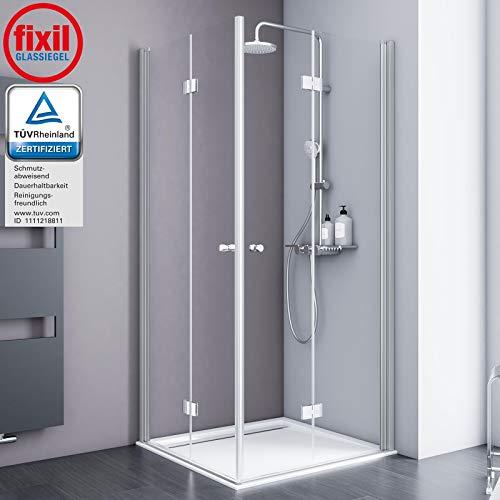 Schulte Duschkabine Alexa Style 2.0 Dreh-Falttür Eckeinstieg, 90 x 90 cm, 192 cm, 5 mm Sicherheitsglas beschichtet, Profile alu-natur, Montage auf Duschwanne oder Fliese