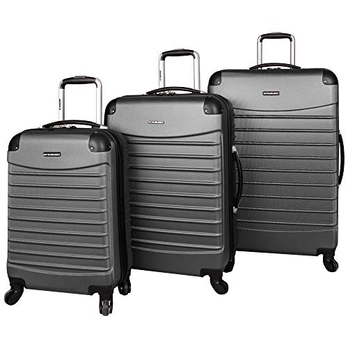 Ciao Voyager Luggage Collection - 3 Piece Hardside Lightweight Spinner Suitcase Set - Travel Set includes 20-Inch Carry On, 24 inch and 28-Inch Checked Suitcases (Voyager Charcoal)