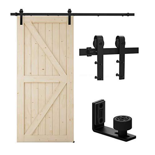 TSMST 200cm Schiebetürsystem Komplett-Set für Schiebetüren mit Bodenführung Schwarz Schienen-Kit Passend für eine einzelne Holztür, J-Form