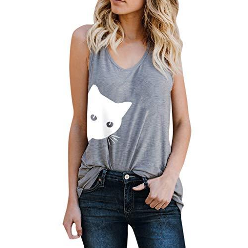 Luckycat Ropa Camiseta sin Mangas Tank Tops para Mujeres, Mu