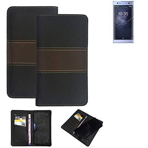 K-S-Trade Handy Hülle Für Sony Xperia XA2 Ultra Dual-SIM Schutzhülle Walletcase Bookstyle Tasche Schutz Hülle Handytasche Wallet Cover Kunstleder Snapcase Dunkelbraun, 1x