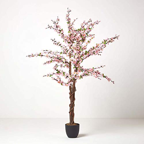 Photo of Homescapes – 5 Feet Blossom Tree – Light Pink – Real Wood Stems and Lifelike Leaves Replica Artificial Plant