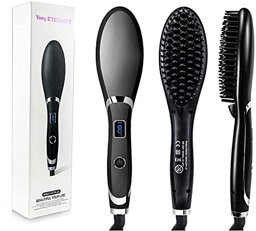 HOKAGE Hair Electric Comb Brush 3 in 1 Ceramic Fast Hair Straightener For Women's Hair Straightening Brush with LCD Screen, Temperature Control Display,Hair Straightener For Women (BLACK)