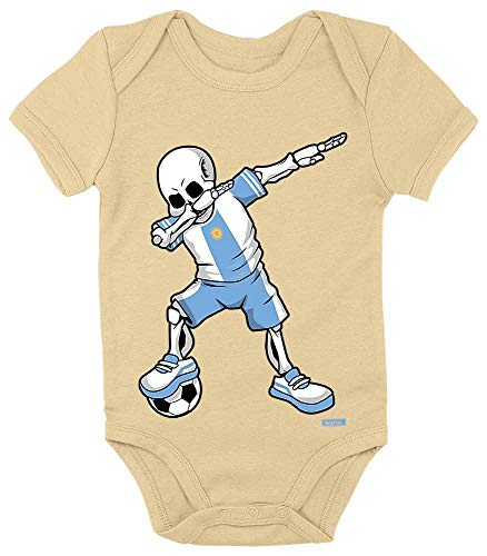 Hariz - Body de manga corta para bebé, diseño de esqueleto de la Selección Alemana de Argentina, incluye tarjeta de regalo amarillo Marschmallow Gelb Talla:0-3 meses