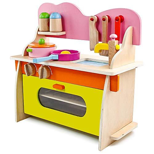 jerryvon Holzspielzeug Küche Kaufmannsladen Zubehör Kinderküchen Ausgestattet Rollenspiel Kinder Spielzeug Für Mädchen Kinder ab 3 4 Jahren