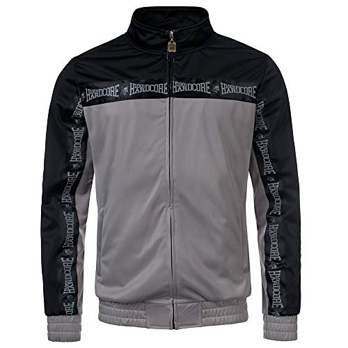 100% Hardcore Trainingsjacke Authentic, Grey Techno Gabber Sportjacket reflective Logo-Stripes (S)