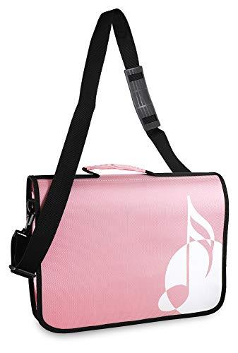 Classic Cantabile Notentasche - Tasche für Musikunterricht und Musikalische Früherziehung - Für Noten im DIN- und US-Format - Schultergurt - Innenfächer für Utensilien - Musik-Design - rosa
