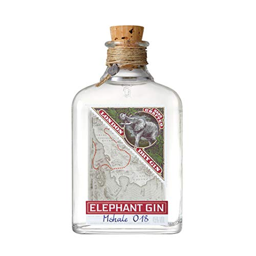 Elephant London Dry Gin (1 x 0,5l) -  preisgekrönter Premium Gin mit afrikanischen Wurzeln, Premium Gin Tonic Spirituose